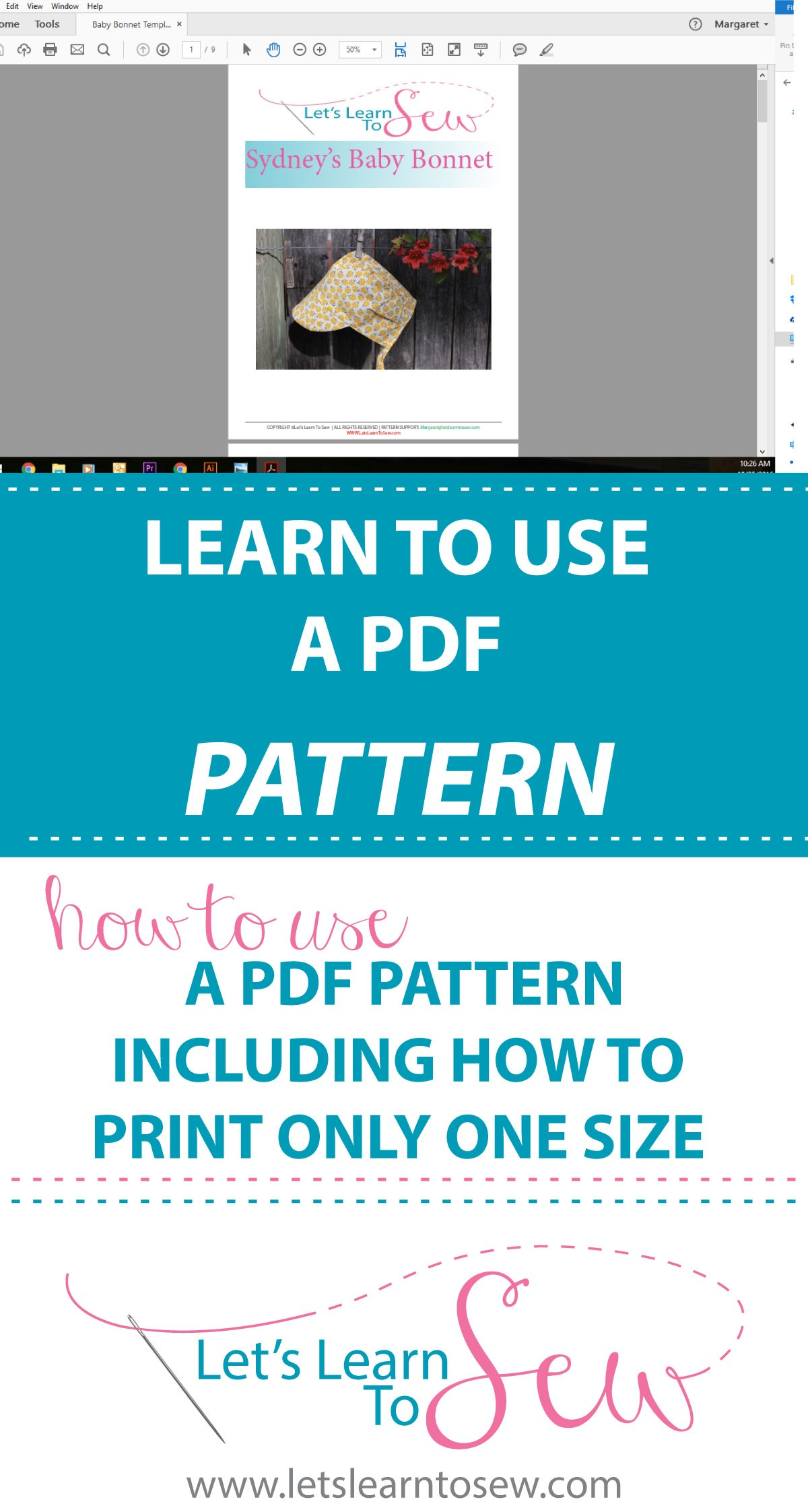 How to use a pdf pattern including how to print only one size