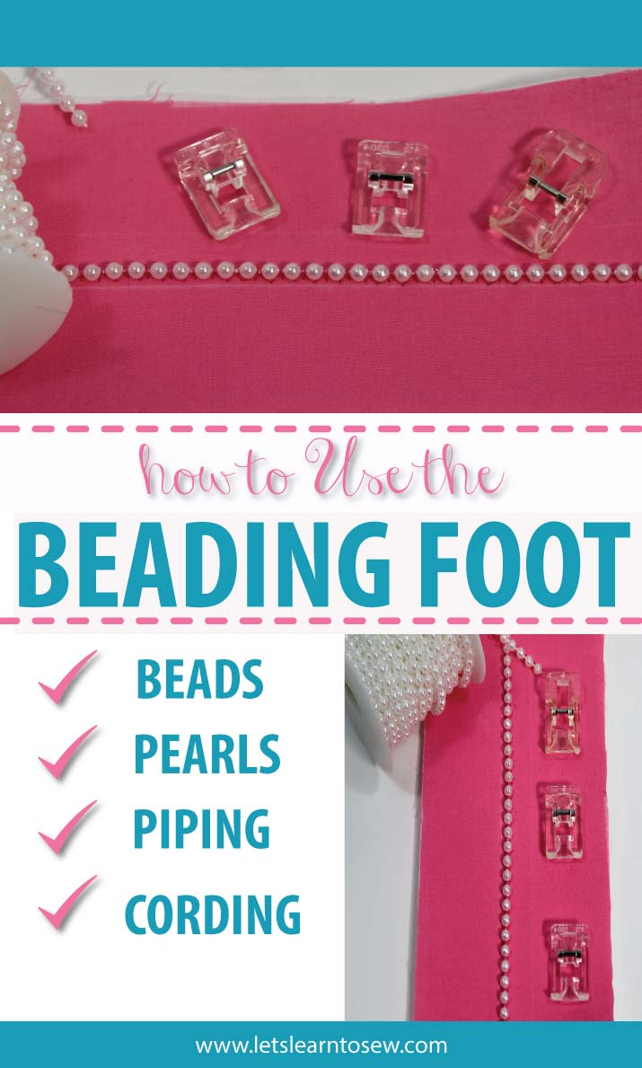 The beading foot is used to sew beads or pearl strands to fabric. Learn to Use the Sewing Machine Beading Foot to attach beads and pearls.