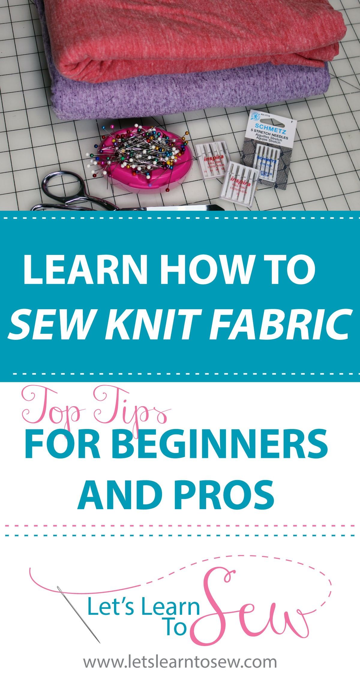 How to Sew with Knit Fabrics Tips for Beginners. Learn how tro sew knit fabric. Find out what type of thread and needle to use and machine settings.