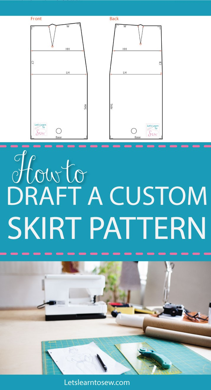 How to make a skirt pattern - draft a skirt block or skirt sloper. Detailed Written instructions on how to draft a basic skirt pattern.