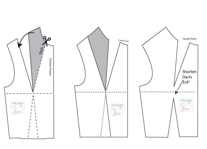 shoulder to neckline dart manipulation