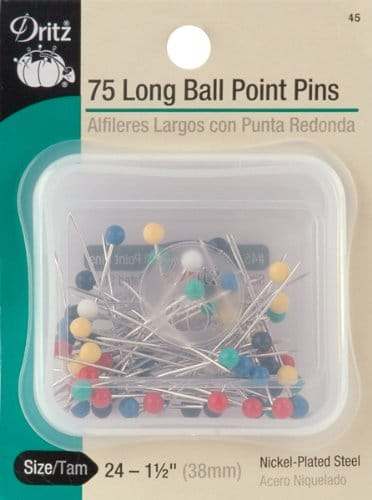 Ball Point Pins have Rounded tips for use with knits and lingerie fabrics